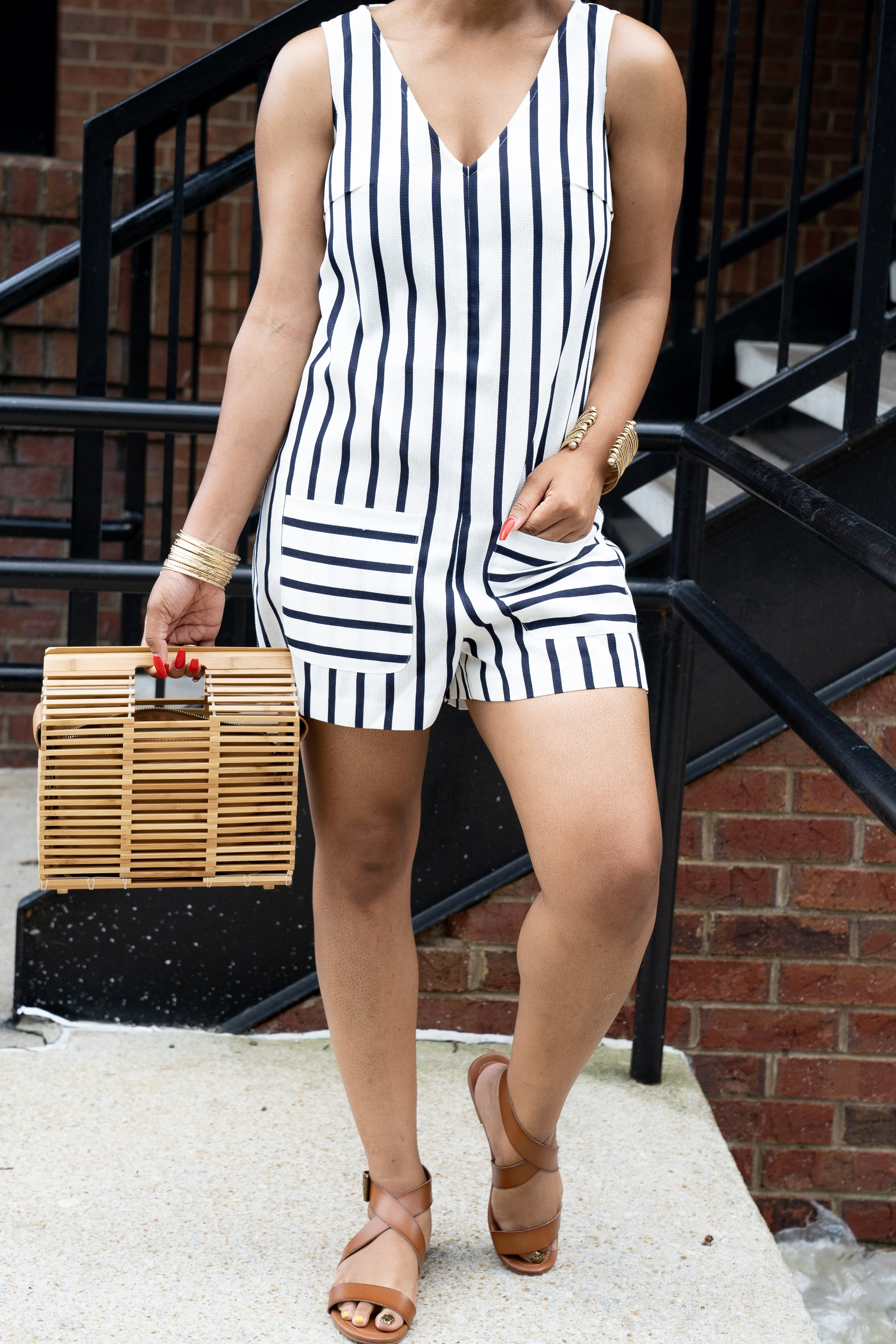 Anays Striped Romper - BLANK Wardrobe