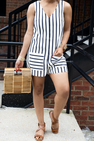 Wide Leg Striped Tie Front Pants