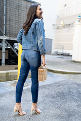 back view of High Rise Ankle Skinny Stretch Jean