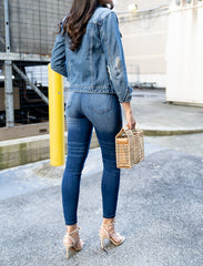 close up back view of High Rise Ankle Skinny Stretch Jean