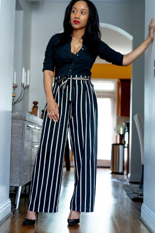 Wide Leg black and white Striped Tie Front Pants