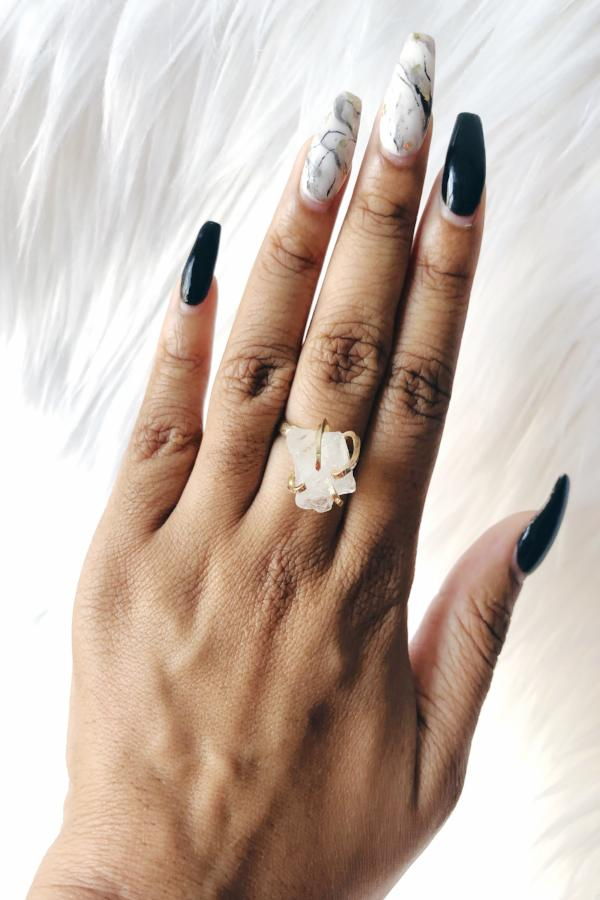 Gem Stone Cocktail Ring on models hand with black and white nails