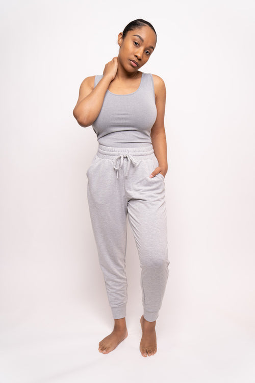 Tank Top and French Terry Jogging Pant Two-Piece Set (Olive/Heather Gray)