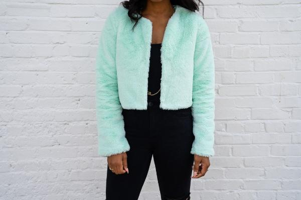 closeup of Faux Fur Cropped Jacket