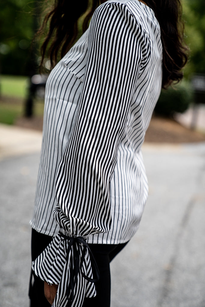 side view of Striped Tie Cuff Blouse