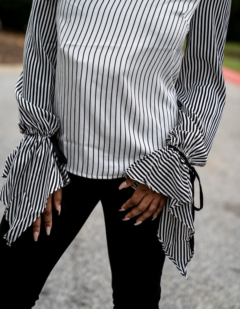 torso view of Striped Tie Cuff Blouse