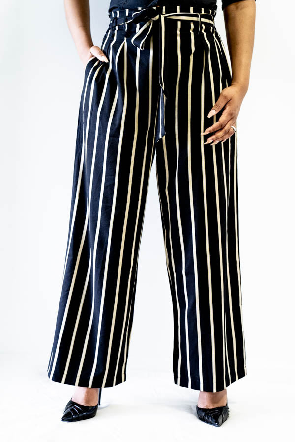 Wide Leg Striped Tie Front Pants from the waist down
