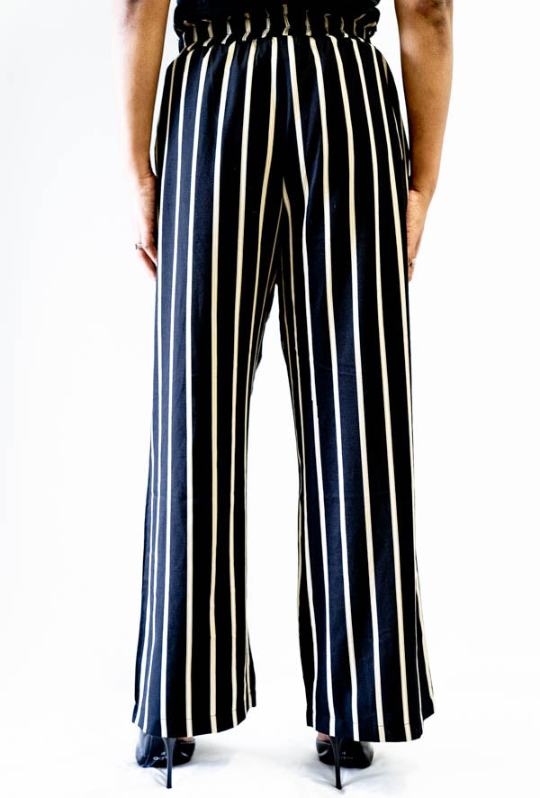 Back view of Wide Leg Striped Tie Front Pants