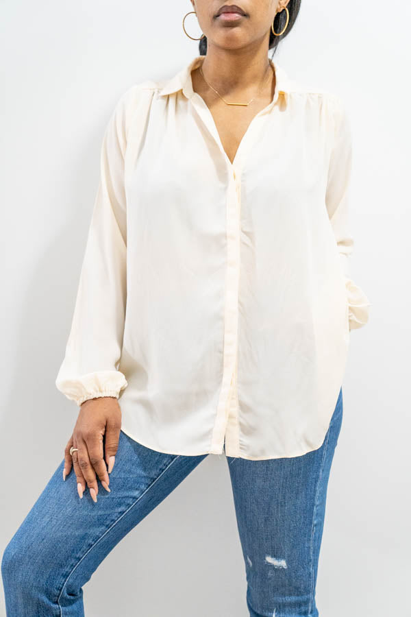 Long Sleeve Collared Blouse
