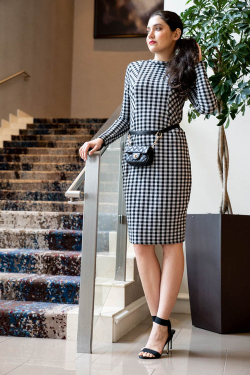 Gingham Pocketed Long Sleeve Midi Dress