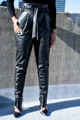 Black Vegan Leather Paper Bag Pants from the waist down