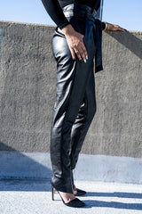 Side view of black Vegan Leather Paper Bag Pants