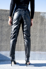 Back view of black Vegan Leather Paper Bag Pants