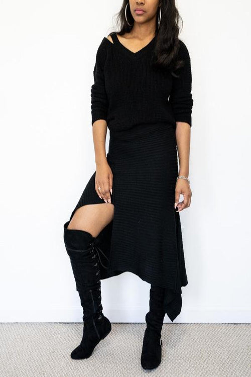 Black Knit Asymmetrical Skirt and knee high black boots