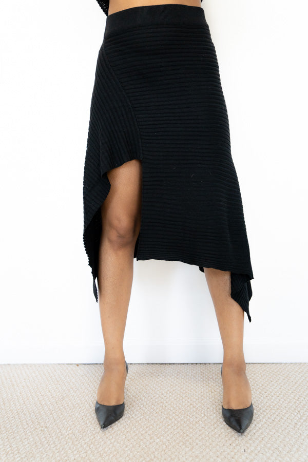 front view of Black Knit Asymmetrical Skirt