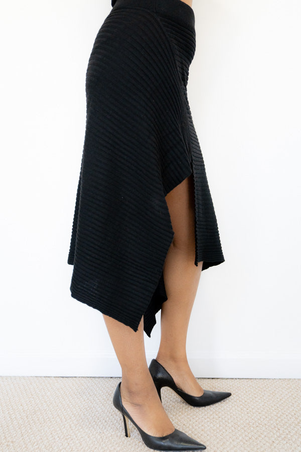 Black Knit Asymmetrical Skirt