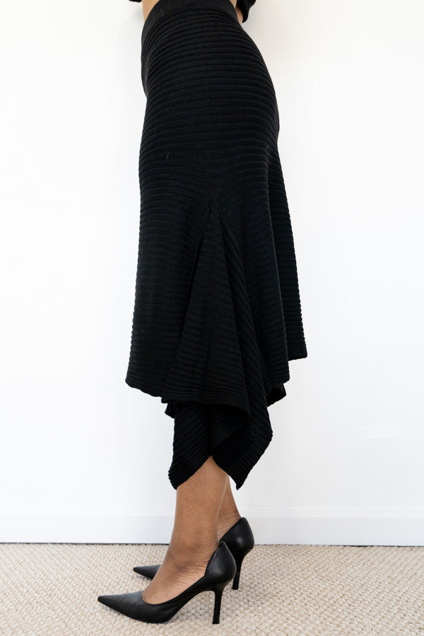 side view of Black Knit Asymmetrical Skirt