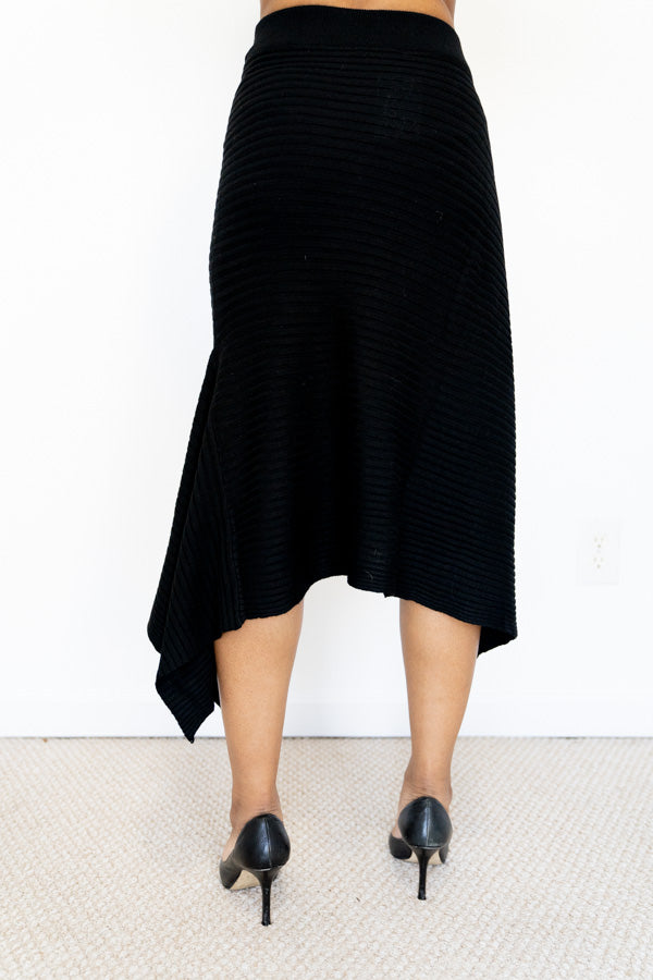 back view of Black Knit Asymmetrical Skirt