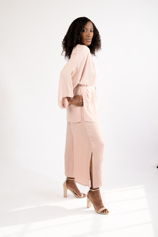 Side view of Smoke Rose Two-Piece Jacket and Wide Cropped Pant Set