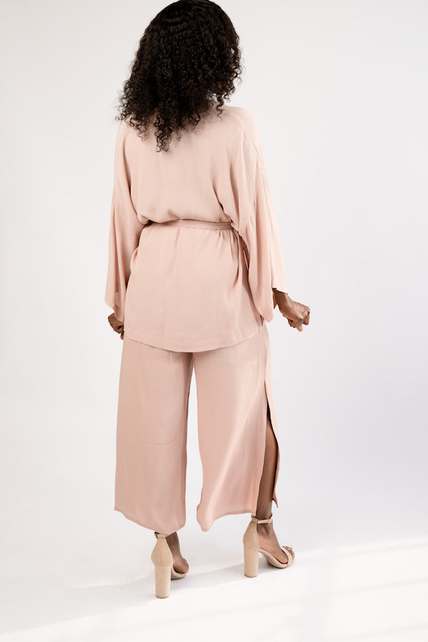 Back view of Smoke Rose Two-Piece Jacket and Wide Cropped Pant Set - BLANK Wardrobe