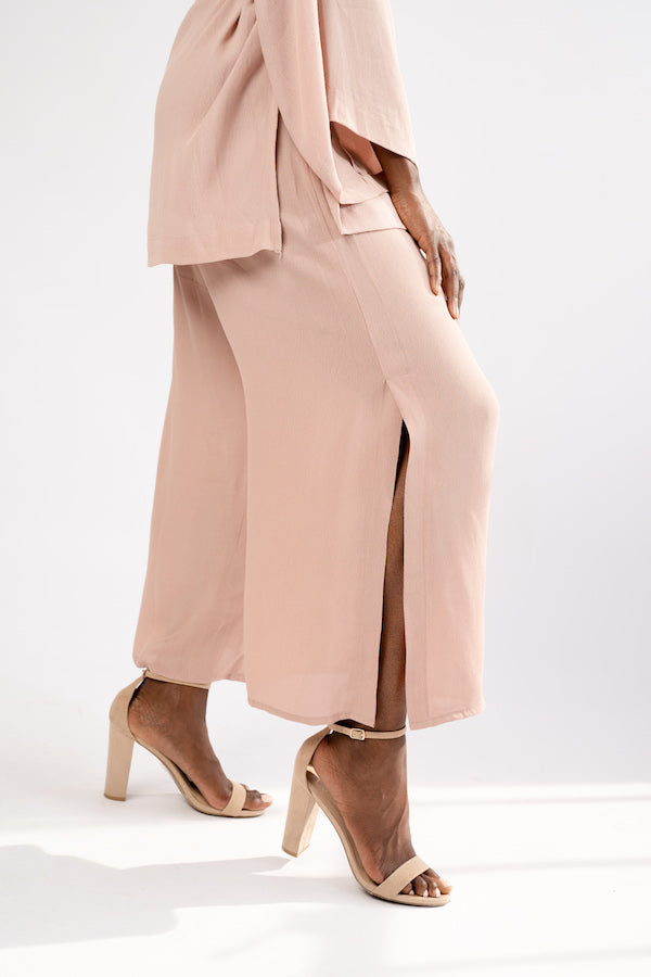 closeup of split on Smoke Rose Two-Piece Jacket and Wide Cropped Pant Set