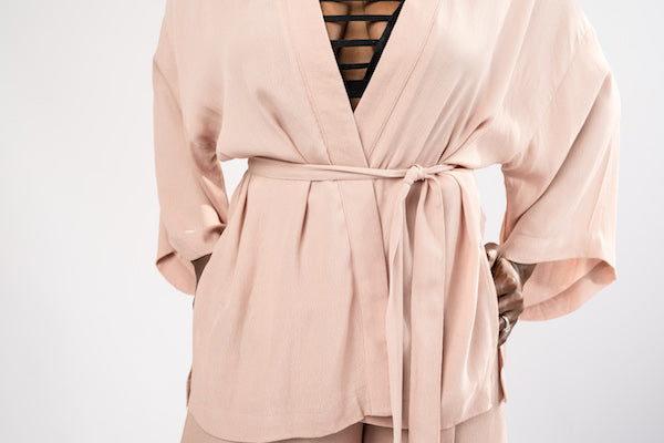torso view of Smoke Rose Two-Piece Jacket and Wide Cropped Pant Set - BLANK Wardrobe
