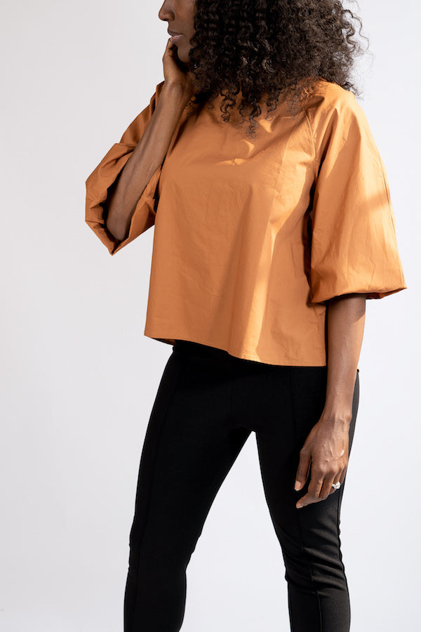 Side view of Short-Sleeve Puffer Blouse