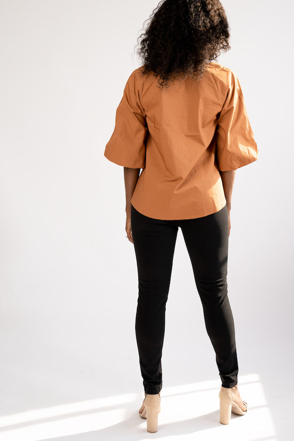 Back view of Short-Sleeve Puffer Blouse