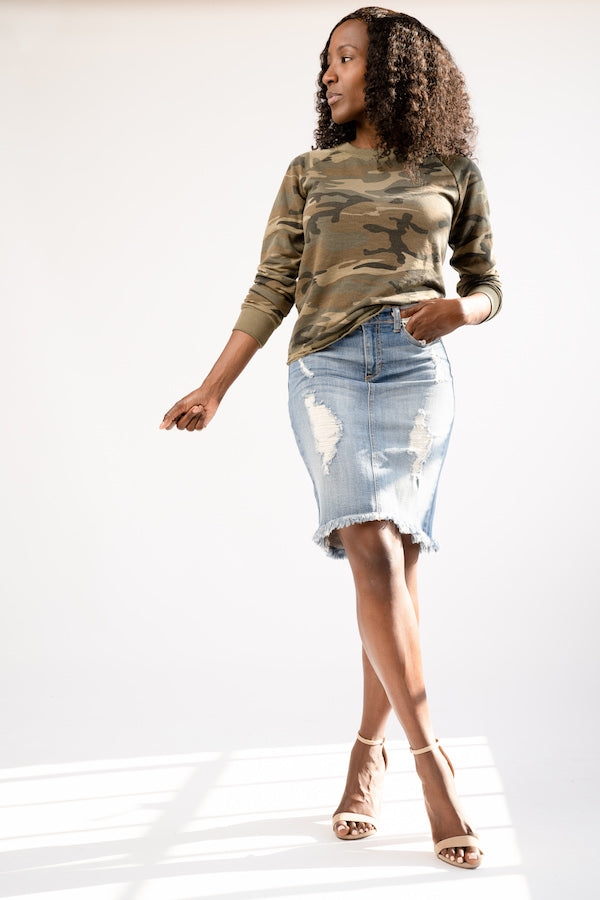 Camo Pull Over with distressed denim skirt