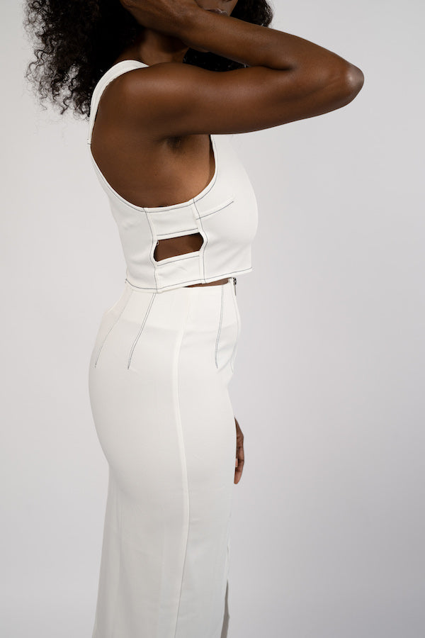 Side view of white Two-Piece Crop Top and Pencil Skirt Set