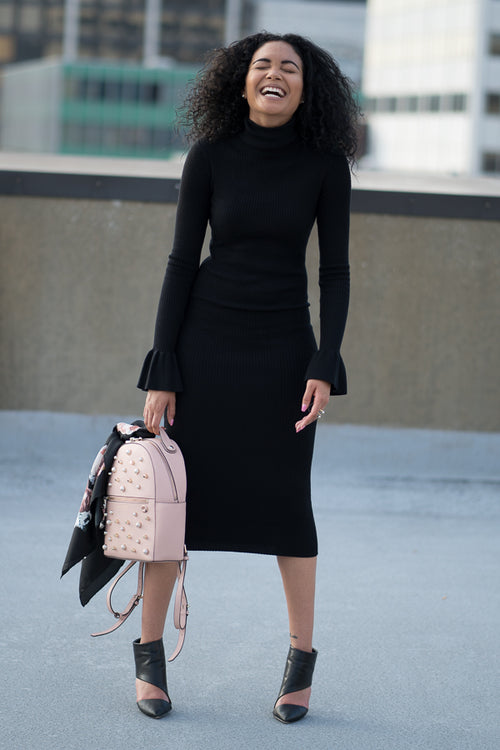 Just A Little Extra Ribbed Turtleneck Dress - BLANK Wardrobe