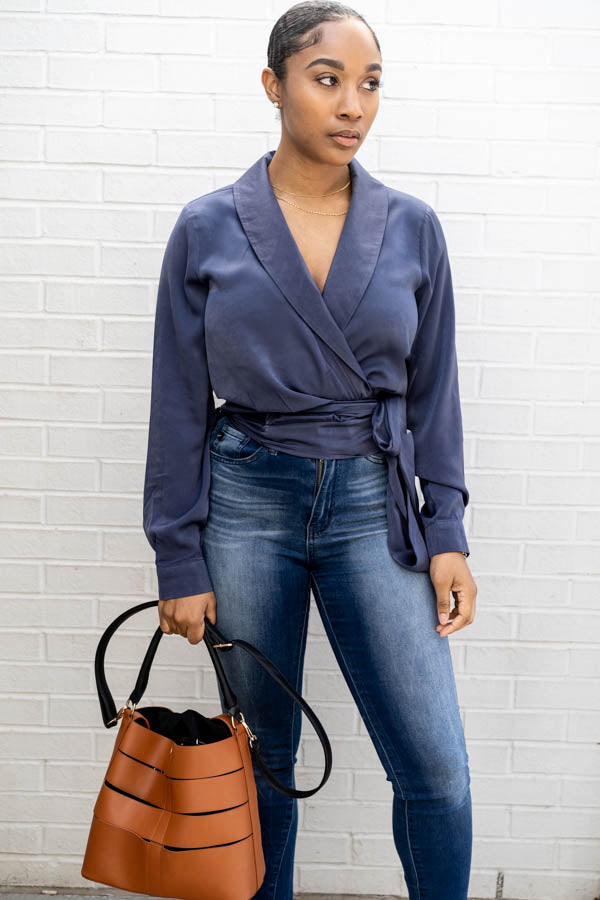 Brushed Satin Wrap Top