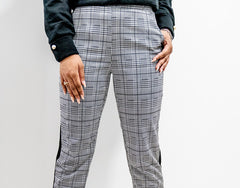 Up close Front view of Plaid Checked Trousers with Side Stripes