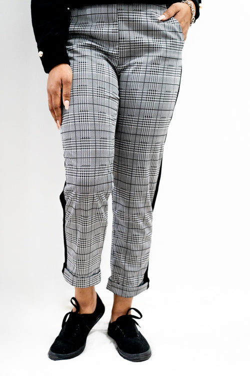 Plaid Checked Trousers with Side Stripes