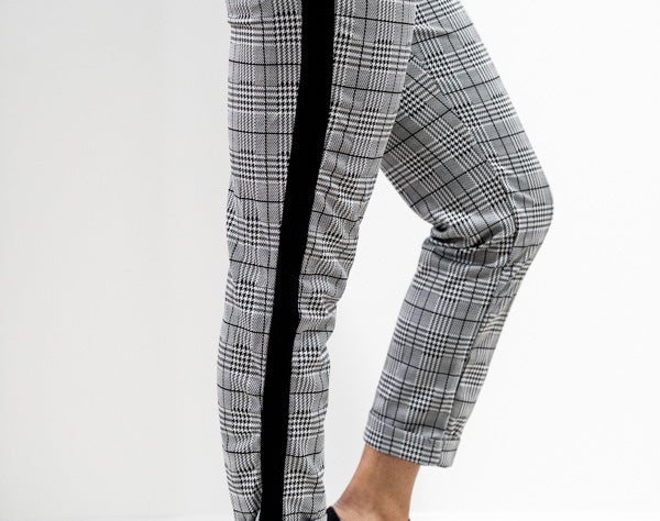 Closeup side view of Plaid Checked Trousers with Side Stripes