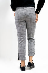 Back view of Plaid Checked Trousers with Side Stripes