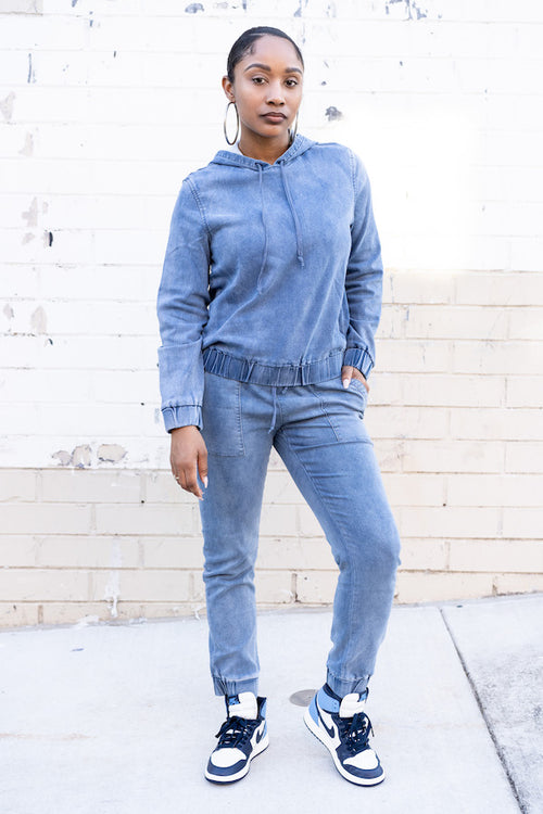 Relaxed Denim Tracksuit