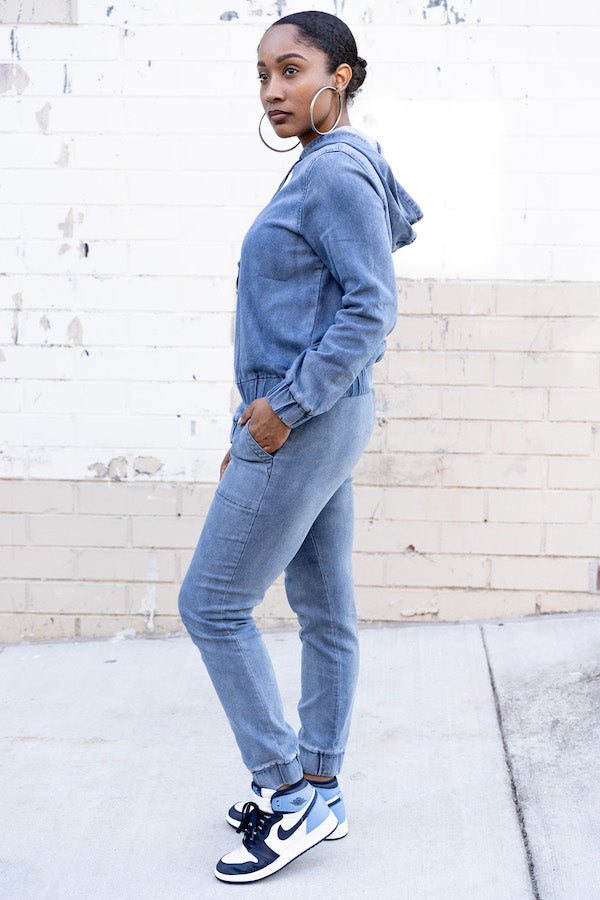 Side view of Relaxed Denim Tracksuit