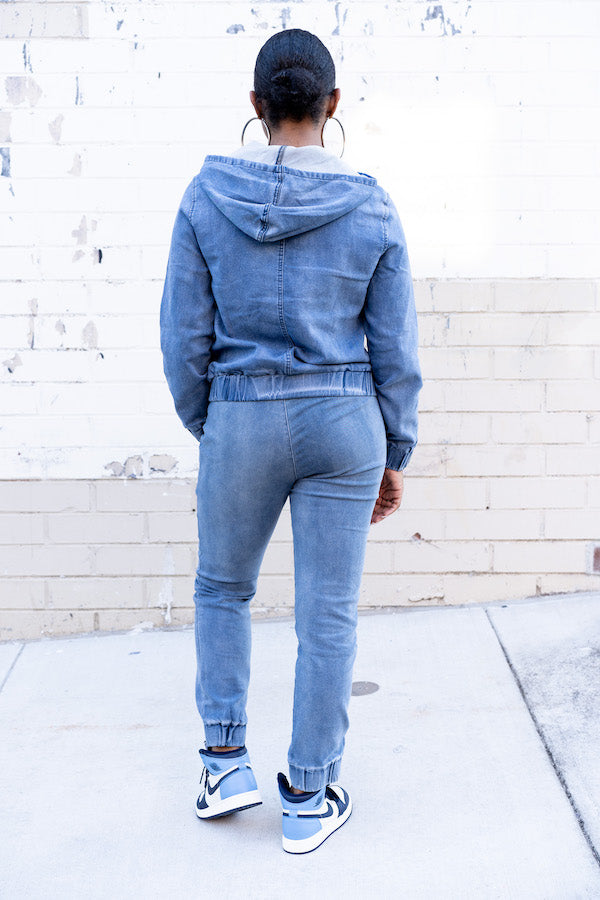 Back view of Relaxed Denim Tracksuit