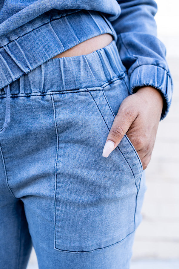 Closeup view of pocket on Relaxed Denim Tracksuit
