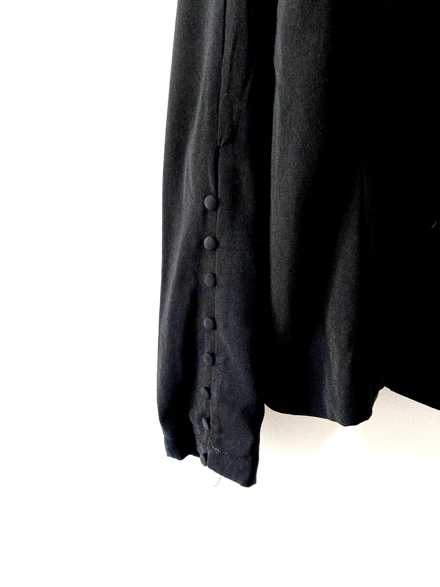 close up of sleeve on Going-Out black Blazer
