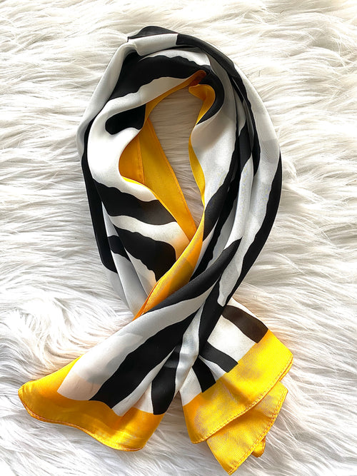 Zebra Print Square Scarf (Yellow Trim)