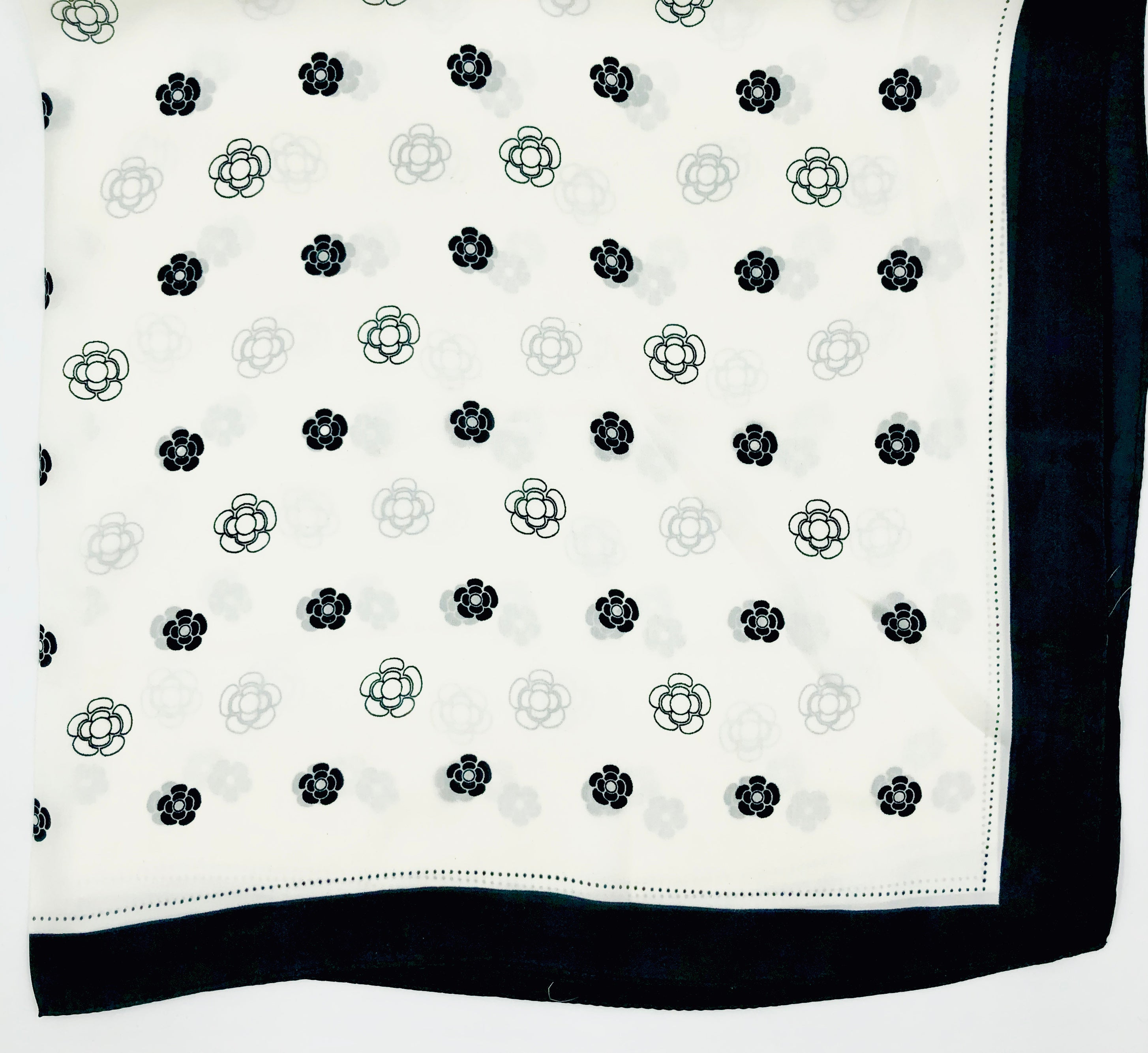 folded floral print black and white square scarf