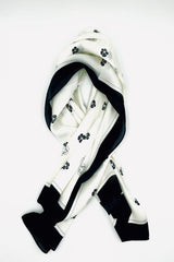 Black and white floral print square scarf