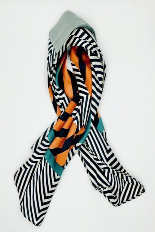 Chevron and stripes square scarf