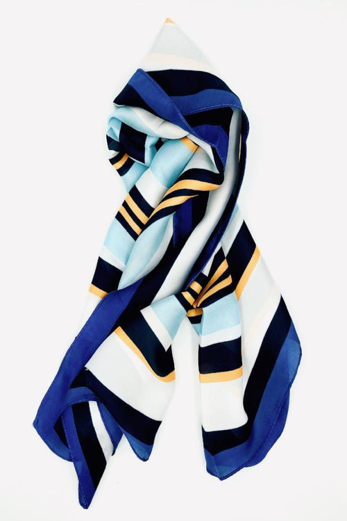 Blue, white and orange square scarf