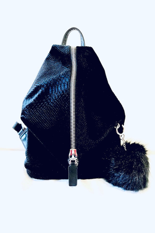 Black Geometric Snakeskin Print Backpack With fur ball