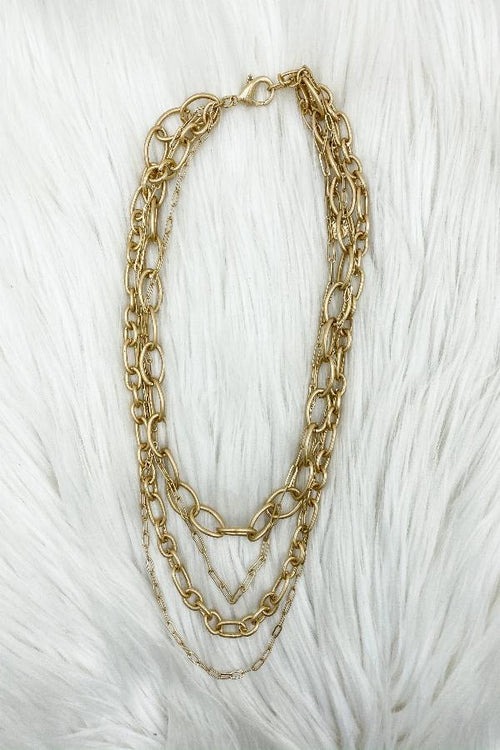 Matte Layered Chain Choker Necklace