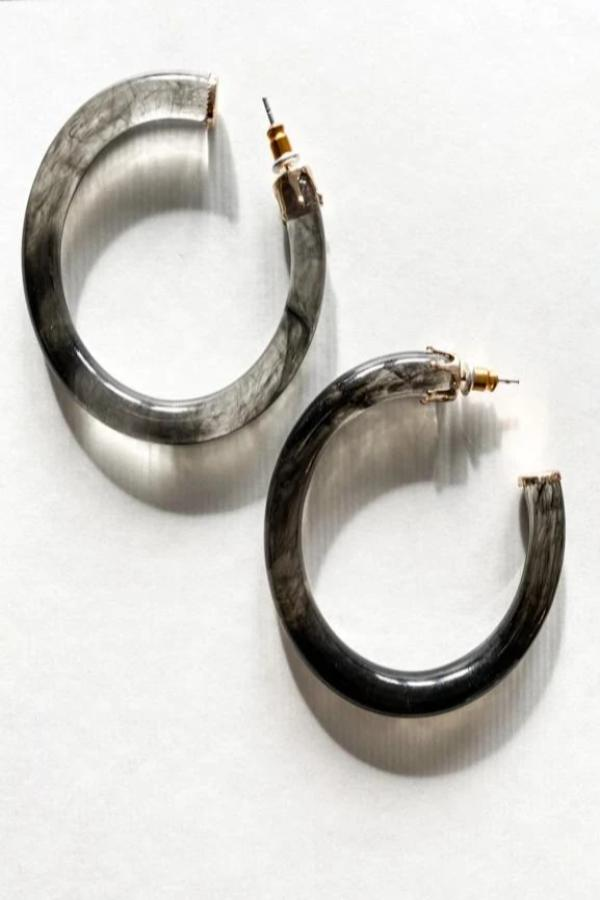 Medium Sized Resin Tube Hoop Earrings