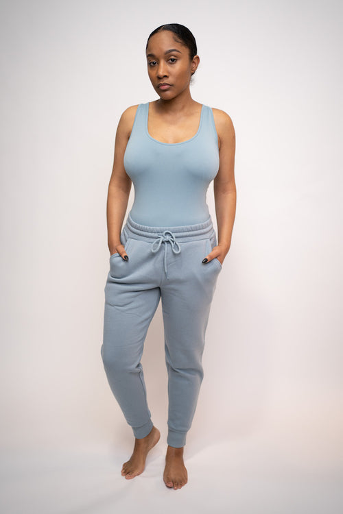 Tank Top and Jogging Pant Two-Piece Set (Blue Gray)